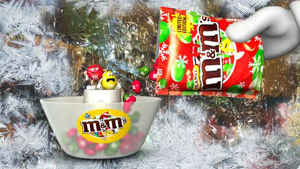 M&m's christmas TV packshot